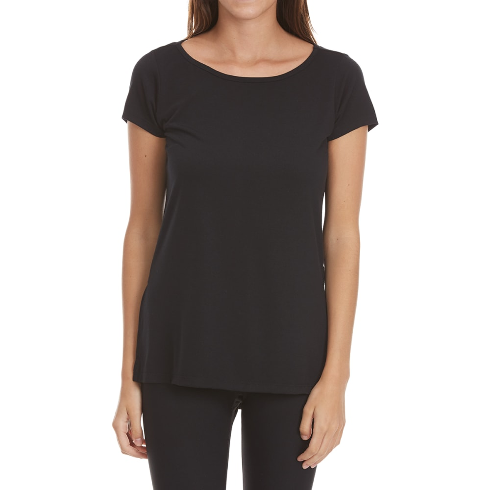 YOGALICIOUS Women's Short Sleeve Top with Racer Back - BLACK