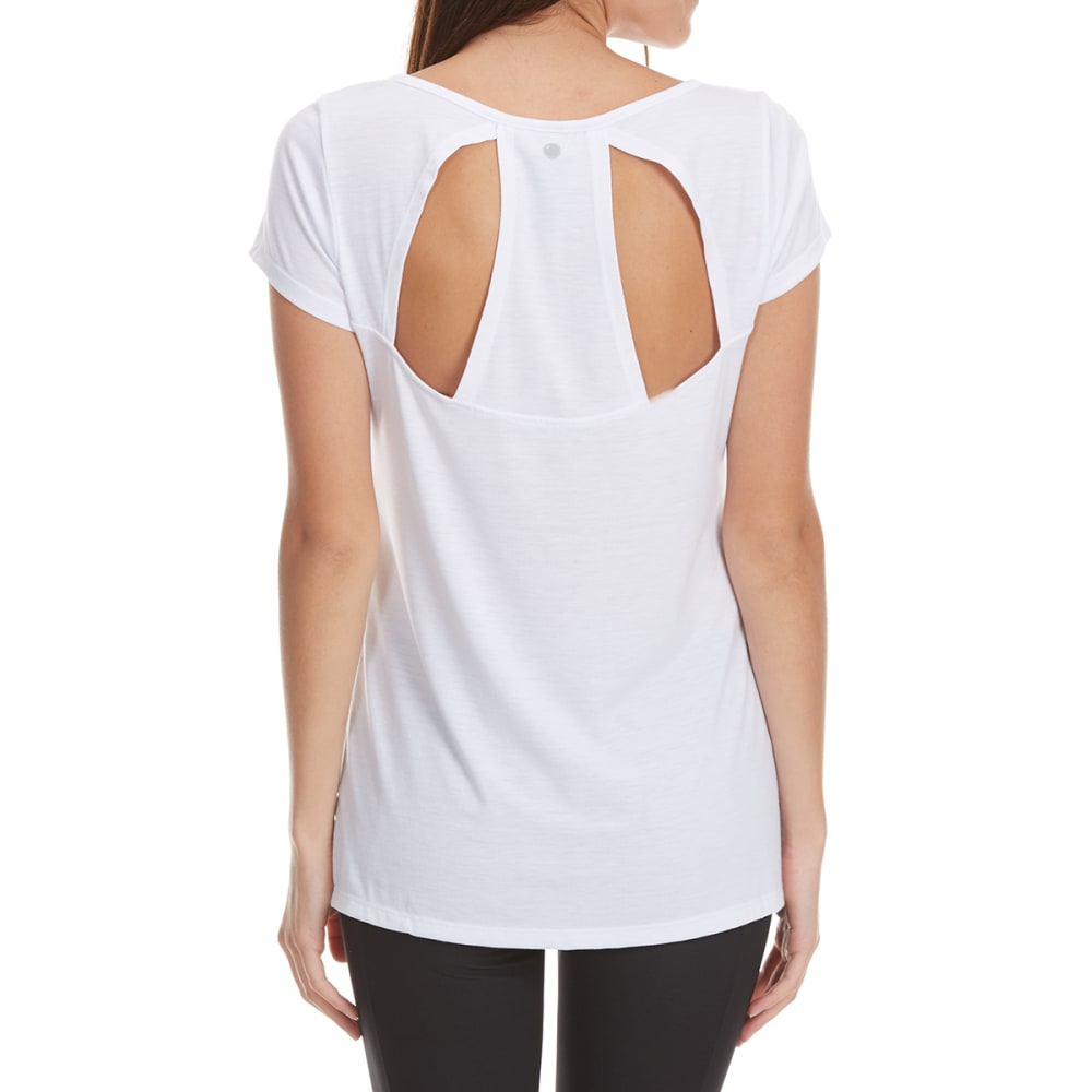 YOGALICIOUS Women's Short Sleeve Top with Racer Back - WHITE