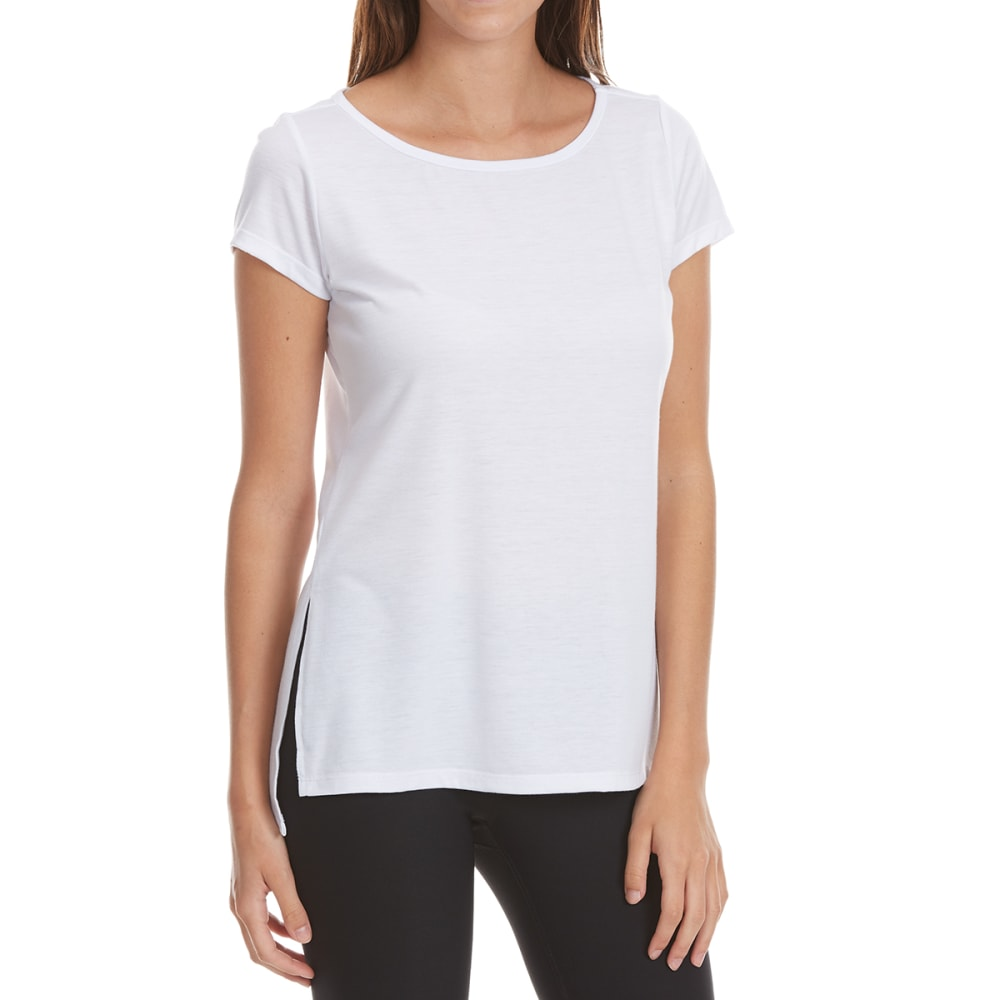 Yogalicious Women's Short Sleeve Top With Racer Back - White, L