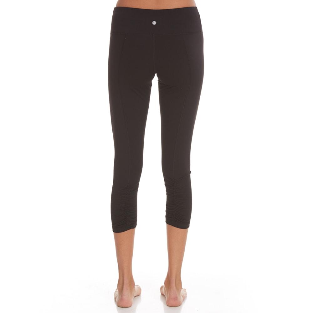 YOGALICIOUS Women's Ruched Seam Capri Leggings - BLACK