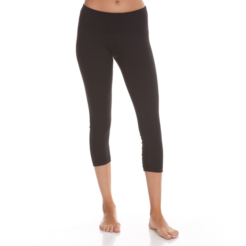 Yogalicious Women's Ruched Seam Capri Leggings - Black, XS