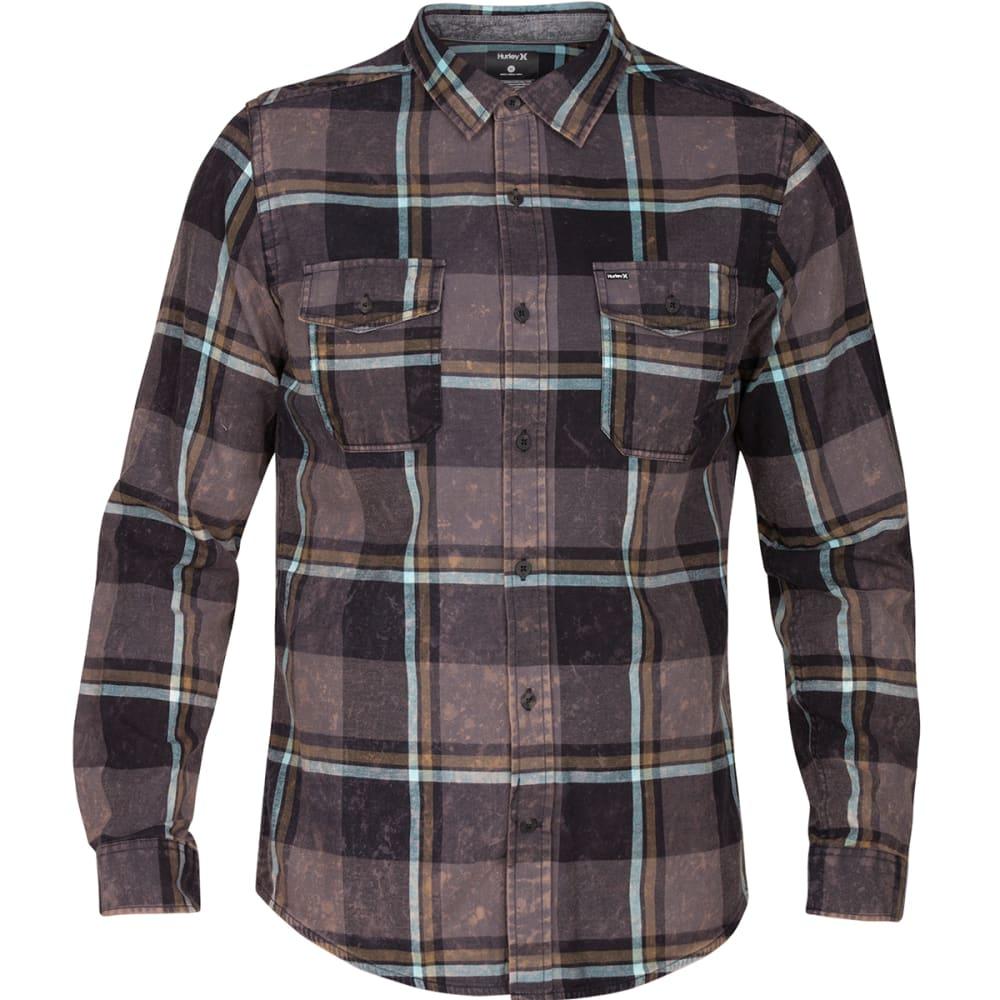 HURLEY Men's Burnside Flannel Long-Sleeve Shirt - BLACK-00A