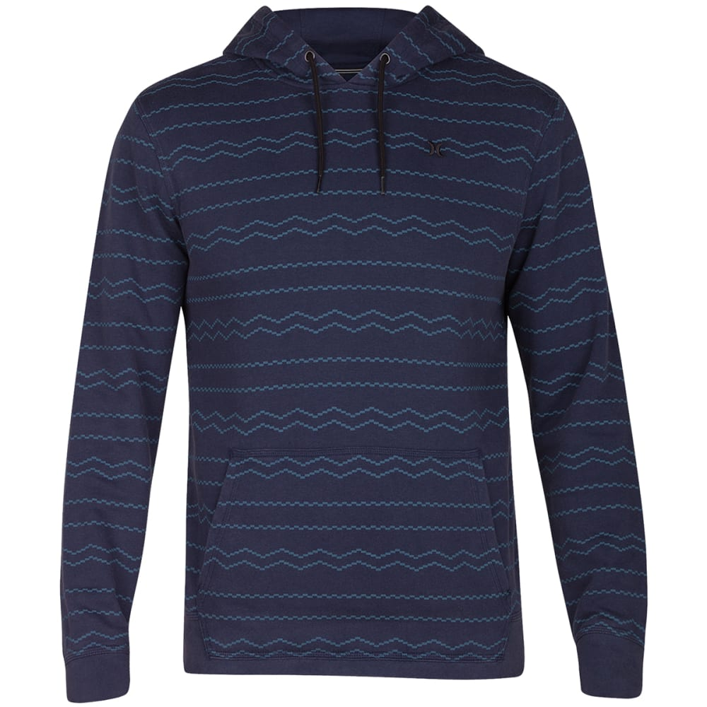 Hurley Guys' Beach Club Destroy Pismo Fleece Pullover Hoodie - Blue, XL