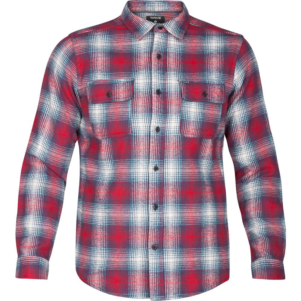 HURLEY Men's Cortez Heavy Long-Sleeve Flannel Shirt - BLUE/SPACE-4JD