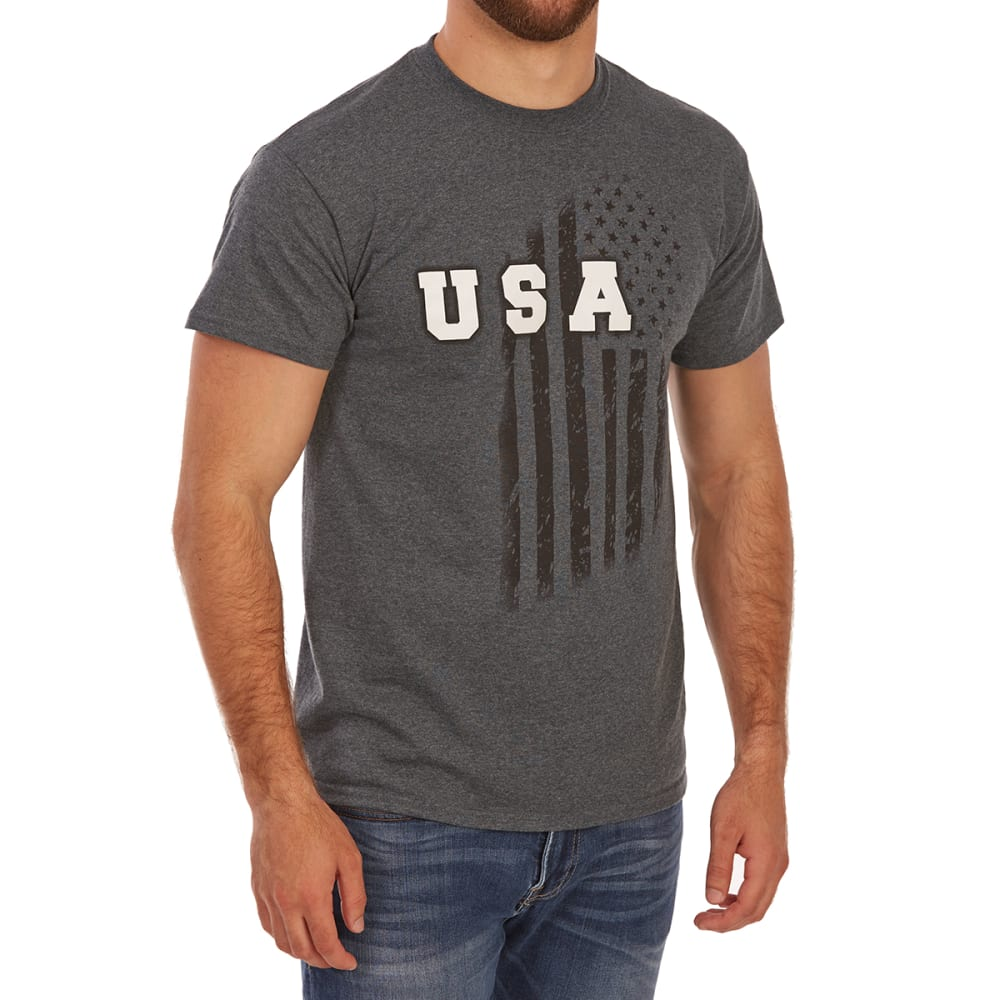 5STAR Guys' USA Vertical Short-Sleeve Tee - CHARCOAL HTR