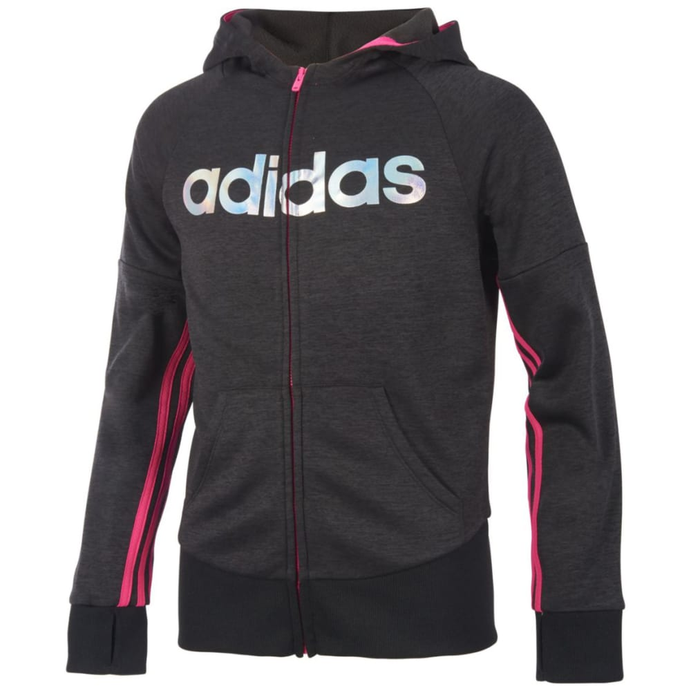 ADIDAS Big Girls' Go The Distance Full-Zip Hoodie - BLACK W/ S PNK-AK20H