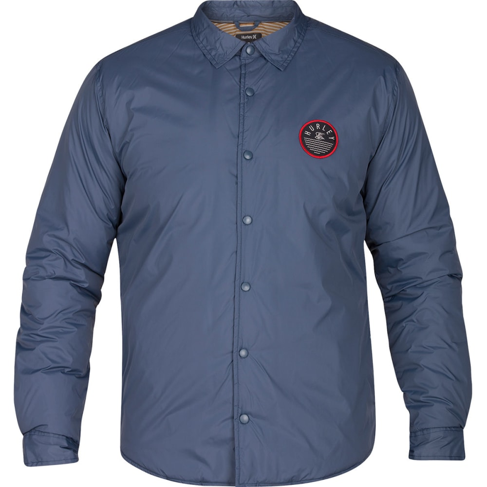 Hurley Guys' Portland Shirt Jacket - Blue, M