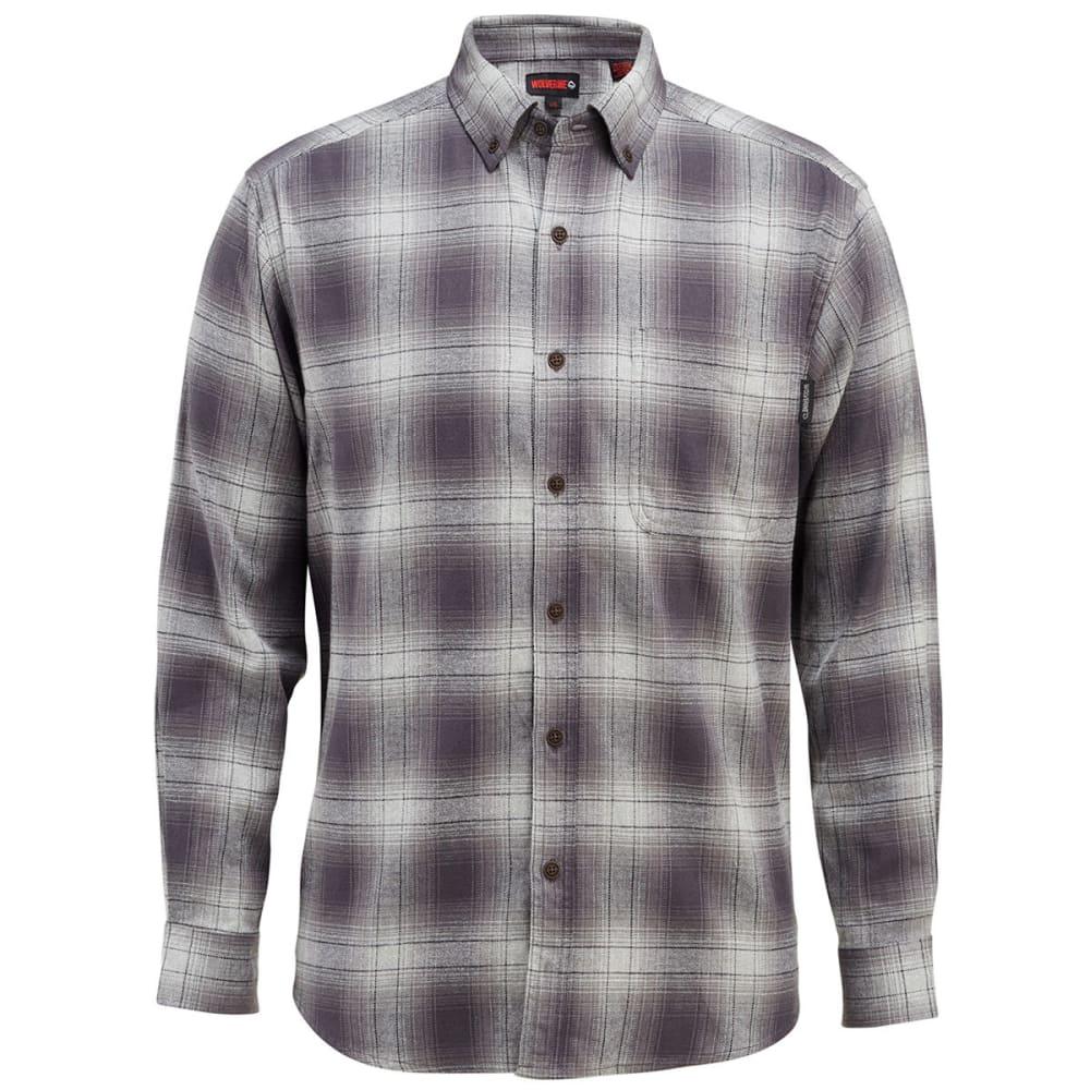 WOLVERINE Men's Hammond Long-Sleeve Flannel Shirt - 045 GRANITE PLAID
