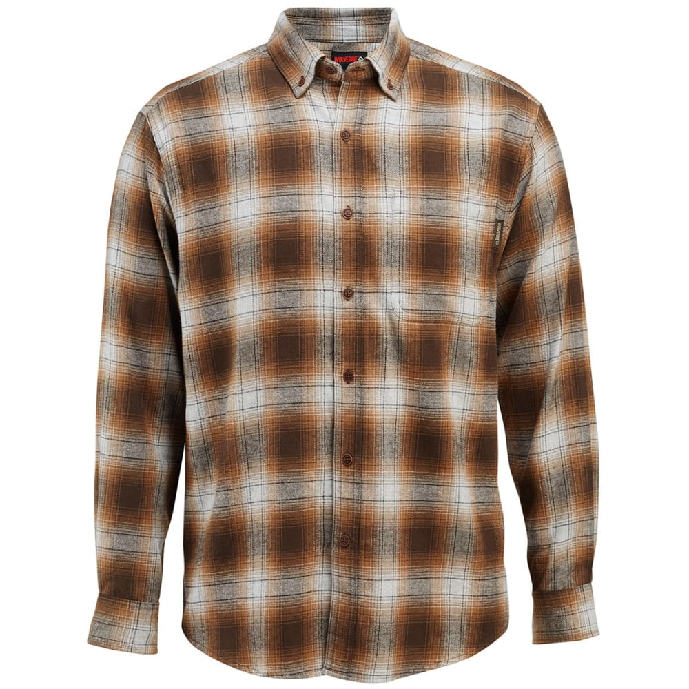 WOLVERINE Men's Hammond Long-Sleeve Flannel Shirt - 206 ESPRESSO PLAID