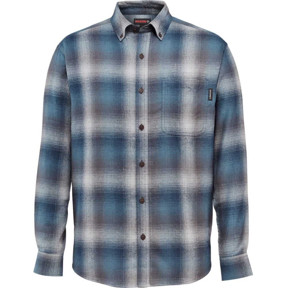 WOLVERINE Men's Hammond Long-Sleeve Flannel Shirt - 417 NAVY PLAID