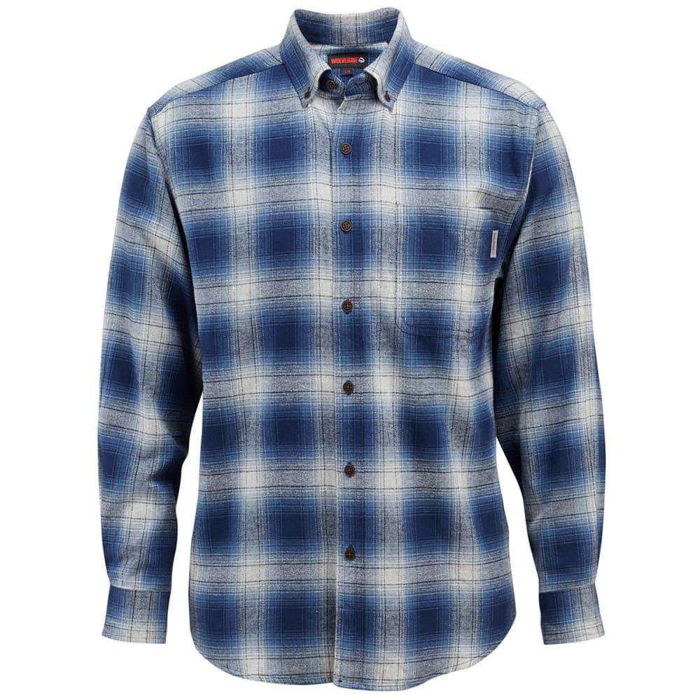 WOLVERINE Men's Hammond Long-Sleeve Flannel Shirt - 435 CADET BLUE PLAID
