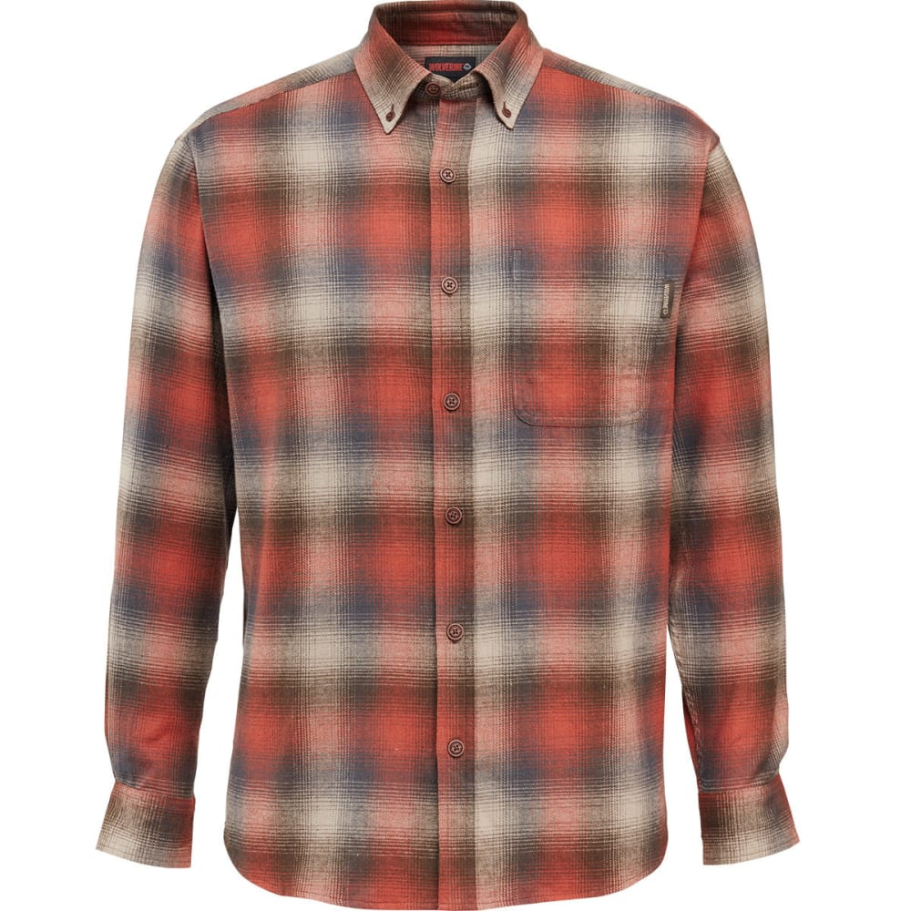 WOLVERINE Men's Hammond Long-Sleeve Flannel Shirt - 620 CINNAMON PLAID