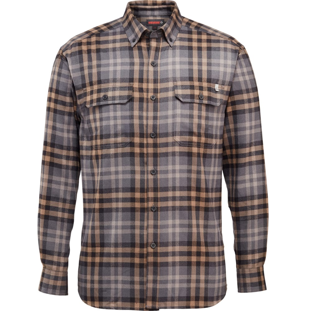 WOLVERINE Men's Escape Long-Sleeve Flannel Shirt - 045 GRANITE