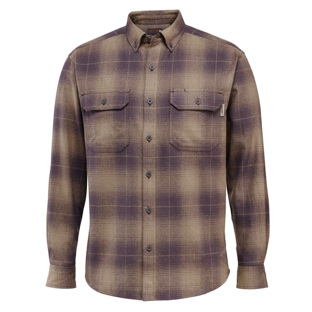 WOLVERINE Men's Redwood Heavyweight Long Sleeve Flannel Shirt - 045 GRANITE