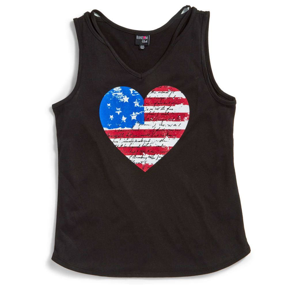 RANSOM GIRL Big Girls' Cold Clavicle Flag Heart Tank Top - 1-BLACK