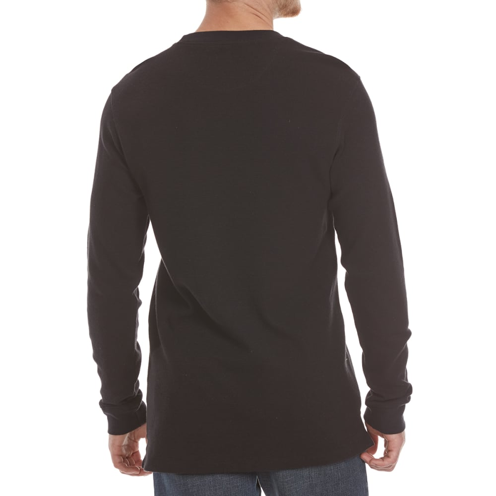 RUGGED TRAILS Men's Thermal Crewneck Long-Sleeve Shirt - BLACK