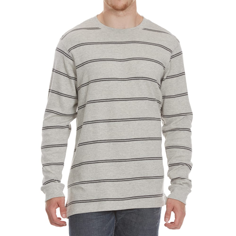 RUGGED TRAILS Men's Thermal Striped Crewneck Long-Sleeve Shirt - PEB HTR/CHR