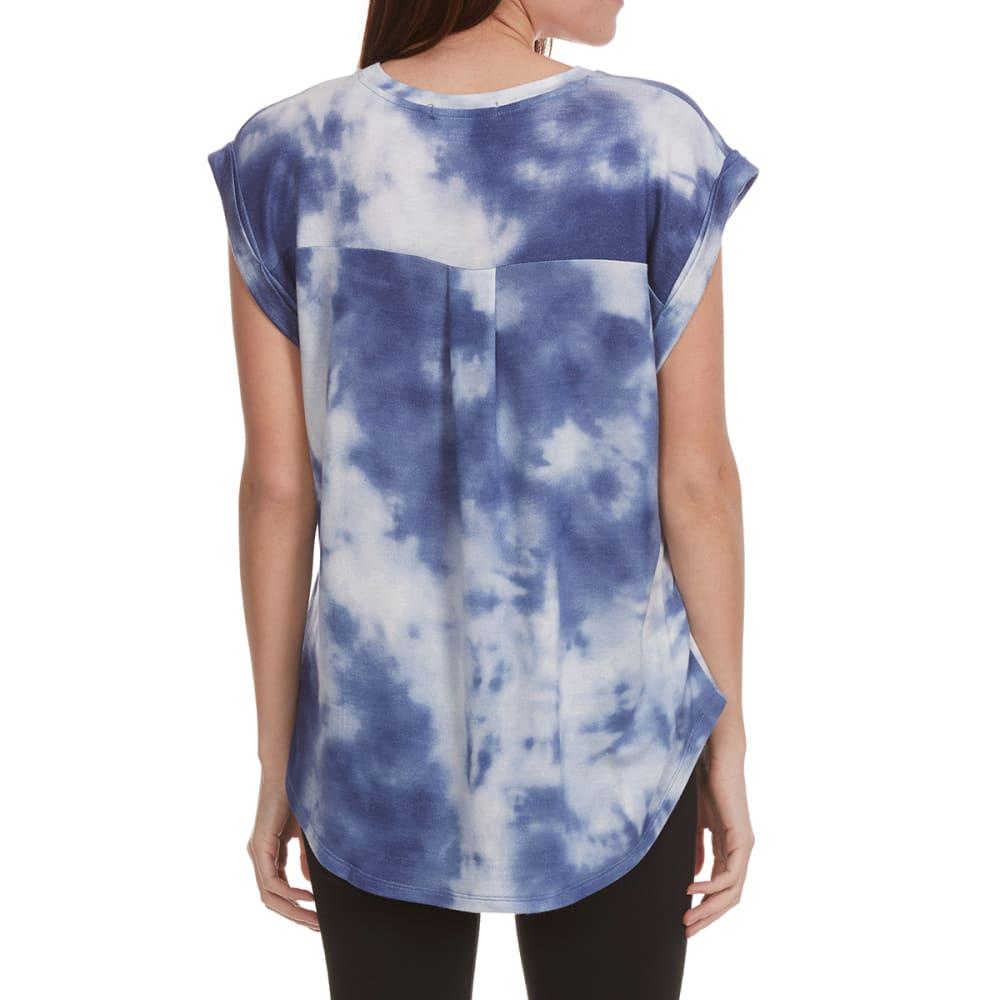FEMME Women's Tie-Dye Roll-Sleeve Pleated Back Short-Sleeve Tee - MIDNIGHT