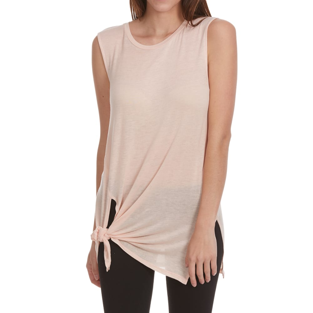 TRESICS Women's Knot-Tie Front Tank Top - BLUSH
