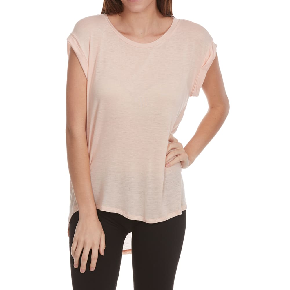 FEMME Women's Pleated Back Roll-Tab Hacci Short-Sleeve Tee - BLUSH