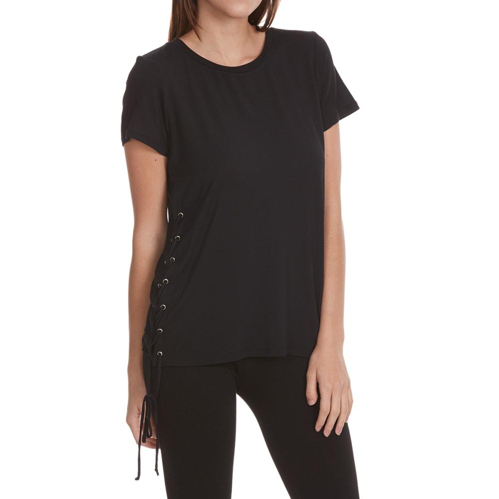 FEMME Women's Lace-Side Short-Sleeve Tee - BLACK