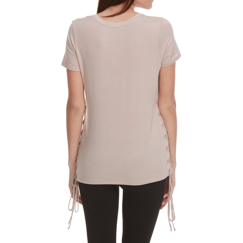 FEMME Women's Lace-Side Short-Sleeve Tee - MURSHROOM