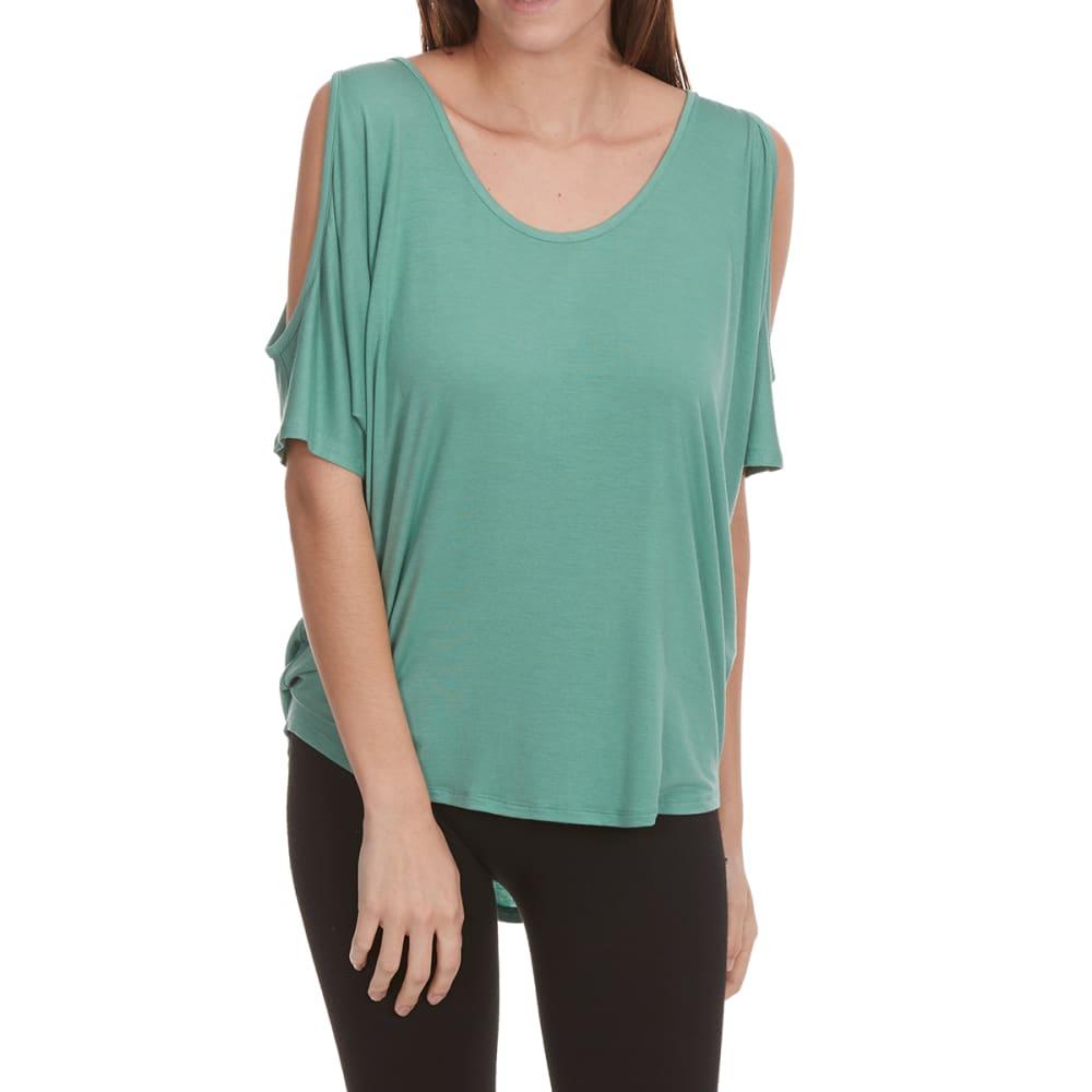FEMME Women's Cold-Shoulder Short-Sleeve Tee - MINERAL GREEN