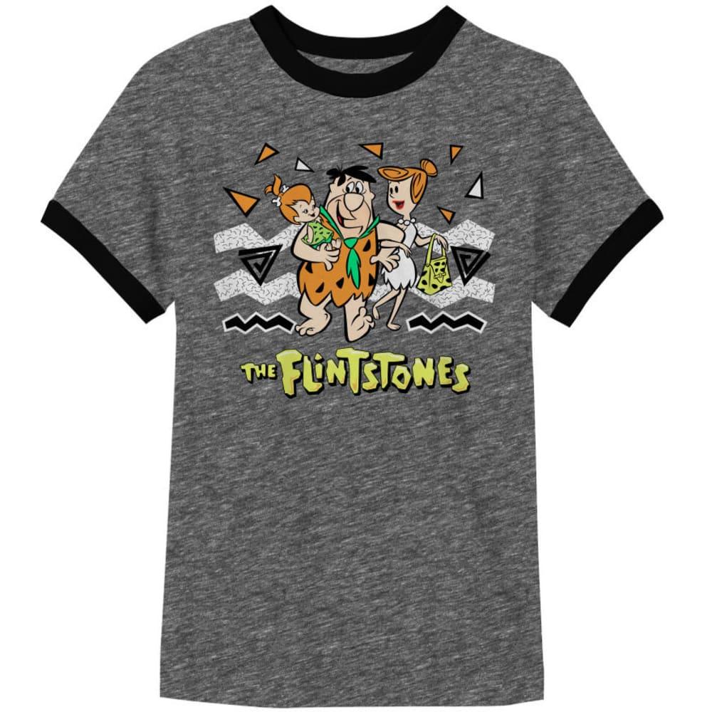 HYBRID Guys' Flintstones Family Ringer Tee - CHAR/BLK