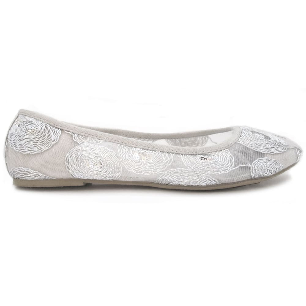OLIVIA MILLER Women's Silver Lace Ballet Flats - SILVER