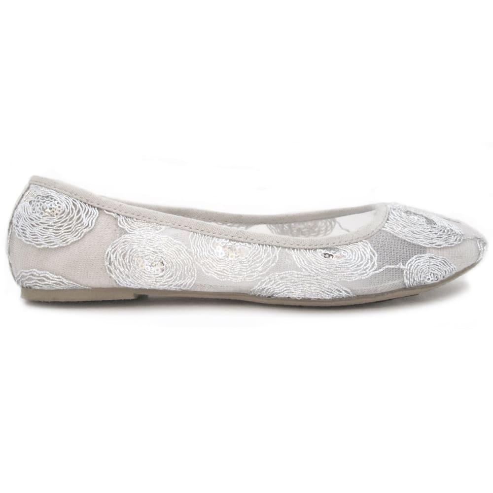 OLIVIA MILLER Women's Silver Lace Ballet Flats - SILVER