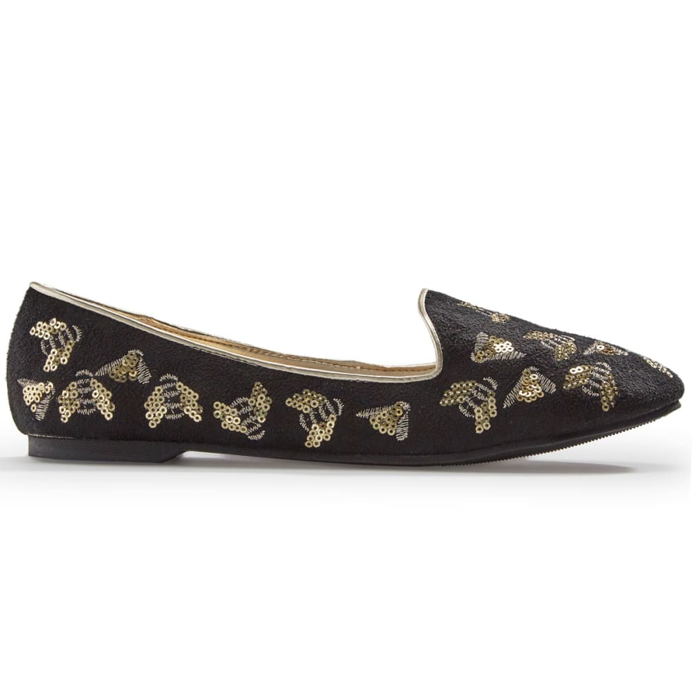 OLIVIA MILLER Women's Sequin Bee Flats, Black - BLACK