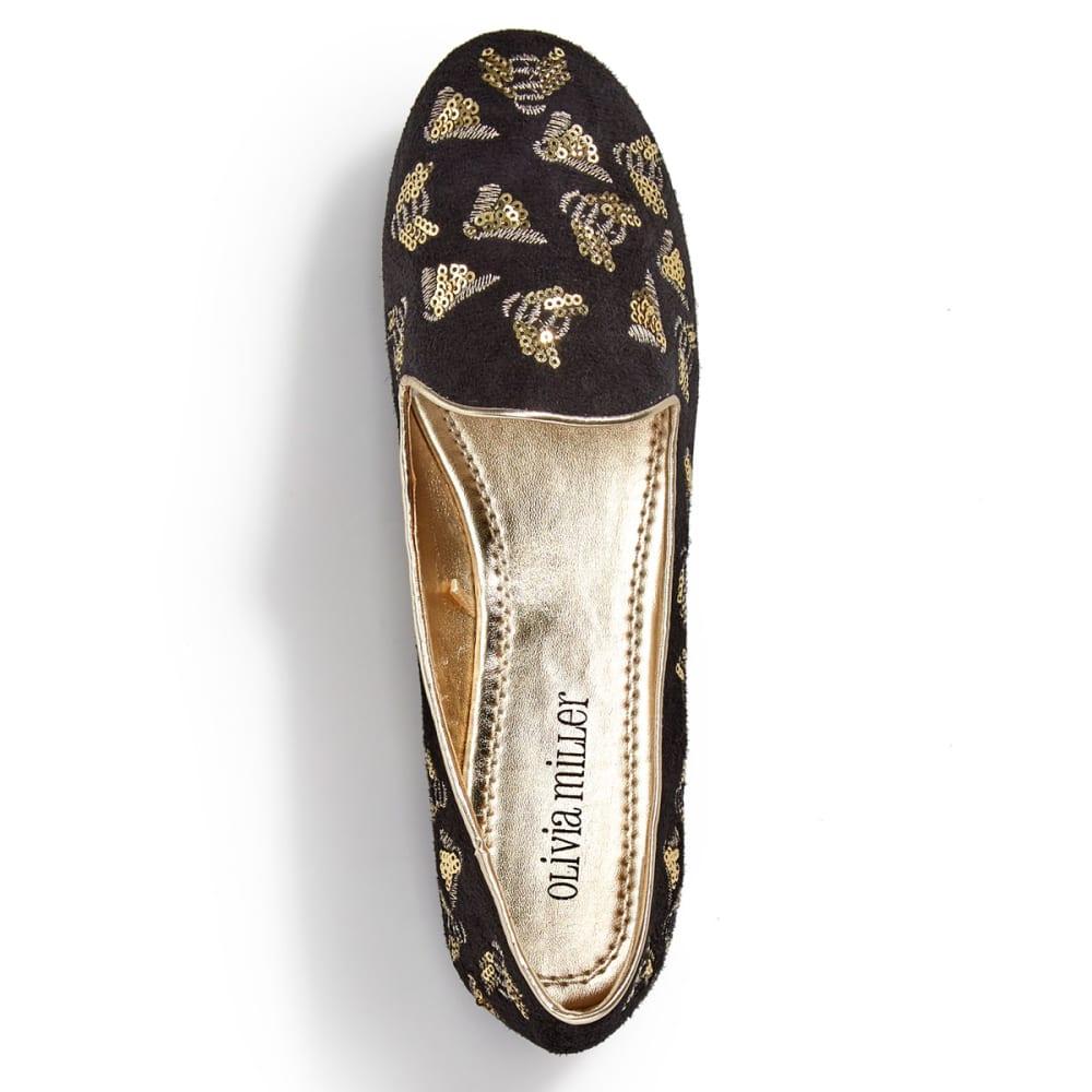 OLIVIA MILLER Women's Sequin Bee Flats, Black - BLACK