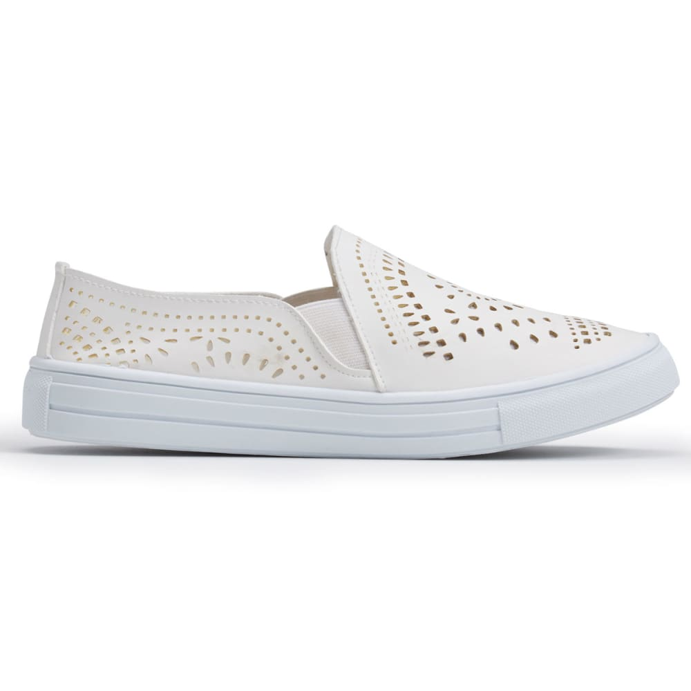 OLIVIA MILLER Women's Cutout Slip-On Casual Shoes, White - WHITE