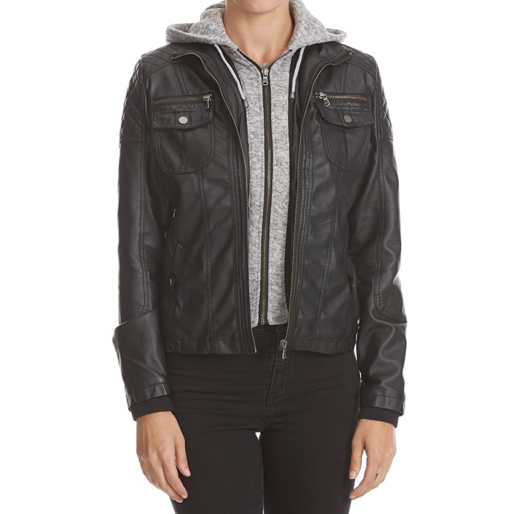 YMI Juniors' Polyurethane Jacket with Knit Hood - BLACK