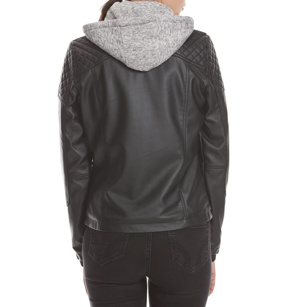 YMI Juniors' Polyurethane Jacket with Knit Hood - BLACK