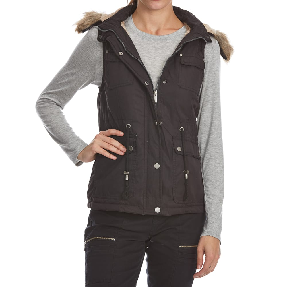 YMI Juniors' Nylon Vest with Faux Fur Hood - BLACK