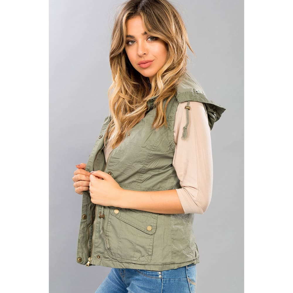 YMI Juniors' Cotton Vest with Removable Hood - OLIVE