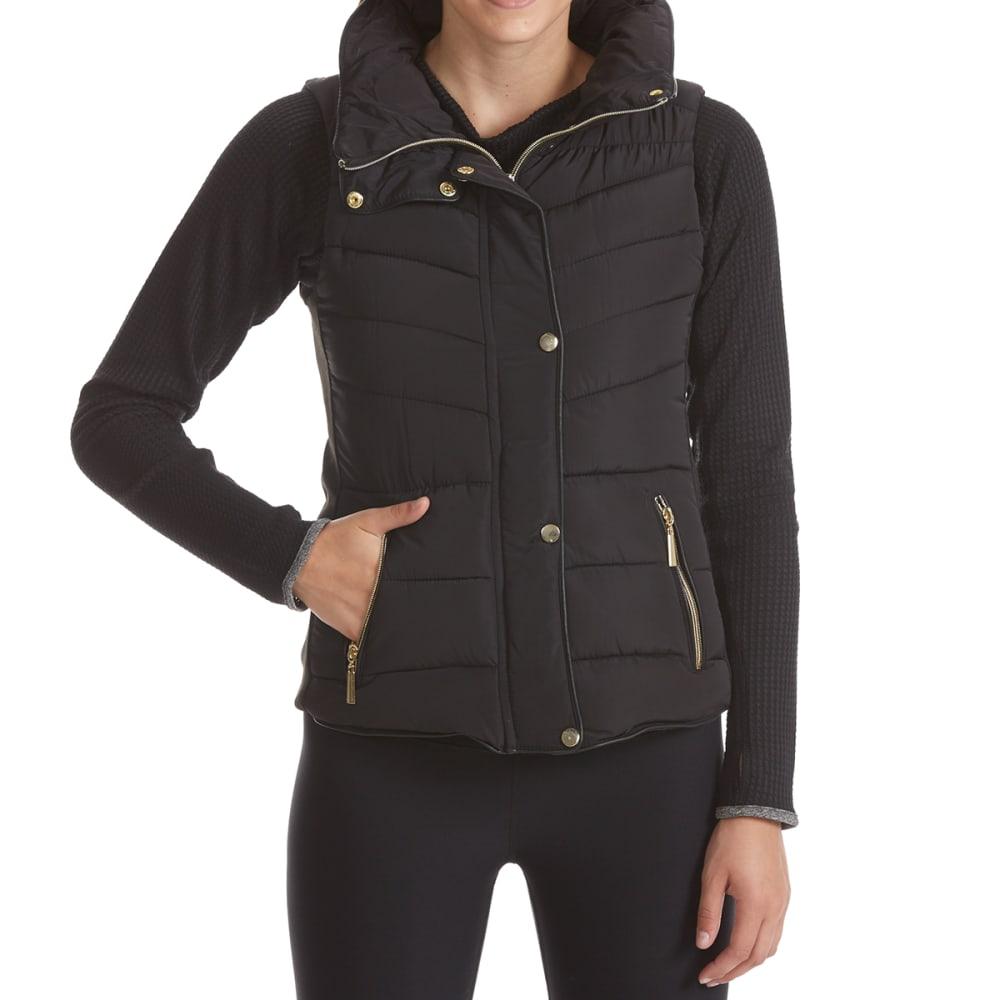 YMI Juniors' Puffer Vest with Fur Hood - BLACK