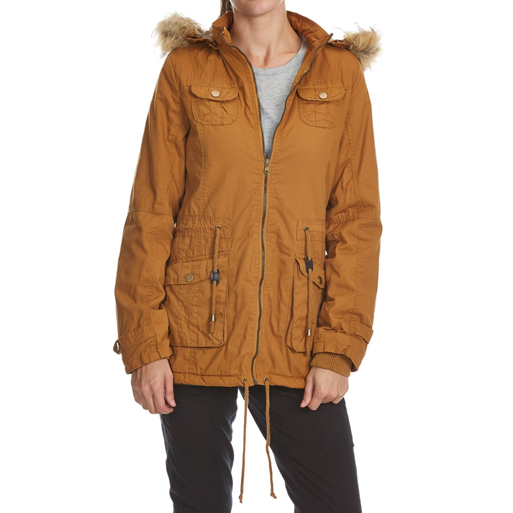 YMI Juniors' Twill Anorak Jacket with Faux Fur Hood - CAMEL