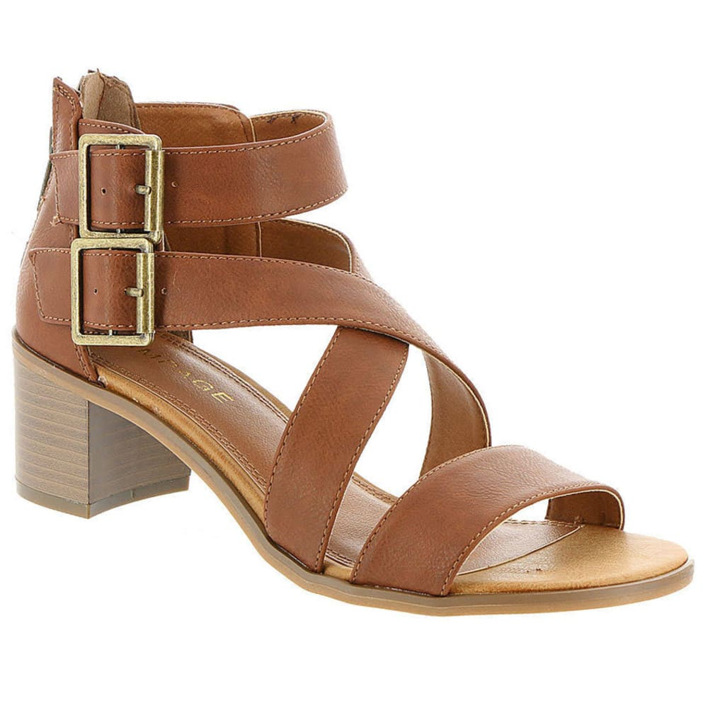RAMPAGE Women's Havarti Block Heel Sandals, Smooth Cognac - COGNAC