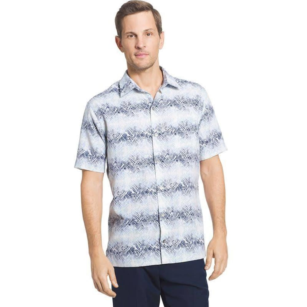VAN HEUSEN Men's Poly Print Woven Short-Sleeve Shirt - BLUE CLEAR AIR-457