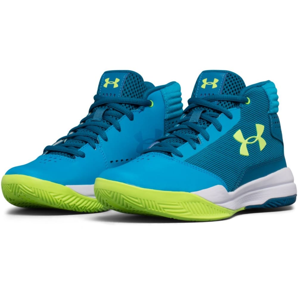 UNDER ARMOUR Girls' Grade School UA Jet 2017 Basketball Shoes, Blue/Bayou Blue/Quirky Lime - BLUE