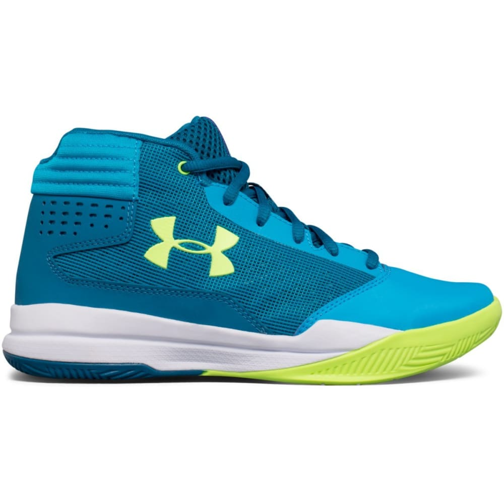 UNDER ARMOUR Girls' Grade School UA Jet 2017 Basketball Shoes, Blue/Bayou Blue/Quirky Lime - BLUE