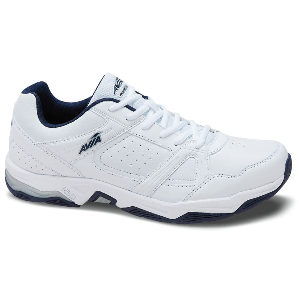 AVIA Men's Avi-Rival Walking Shoes, White/True Navy/Chrome Silver, Wide - WHITE