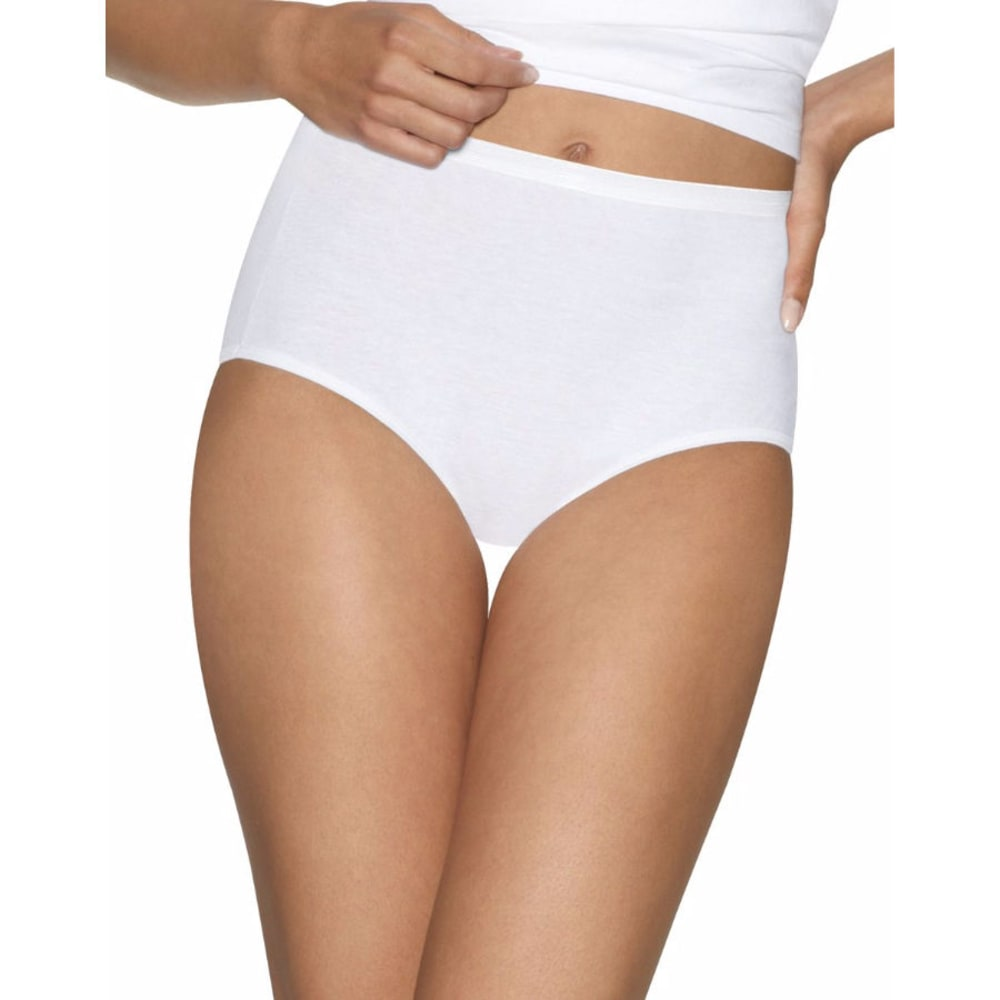 HANES Women's Ultimate Comfort Briefs, 5 Pack - WHITE