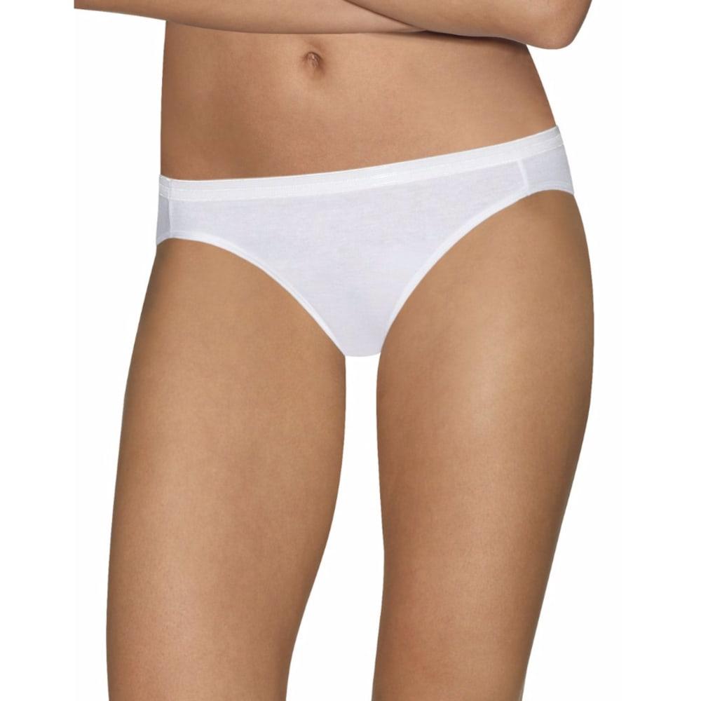 HANES Women's Ultimate Comfort Cotton Bikini Panties, 5 Pack - WHITE