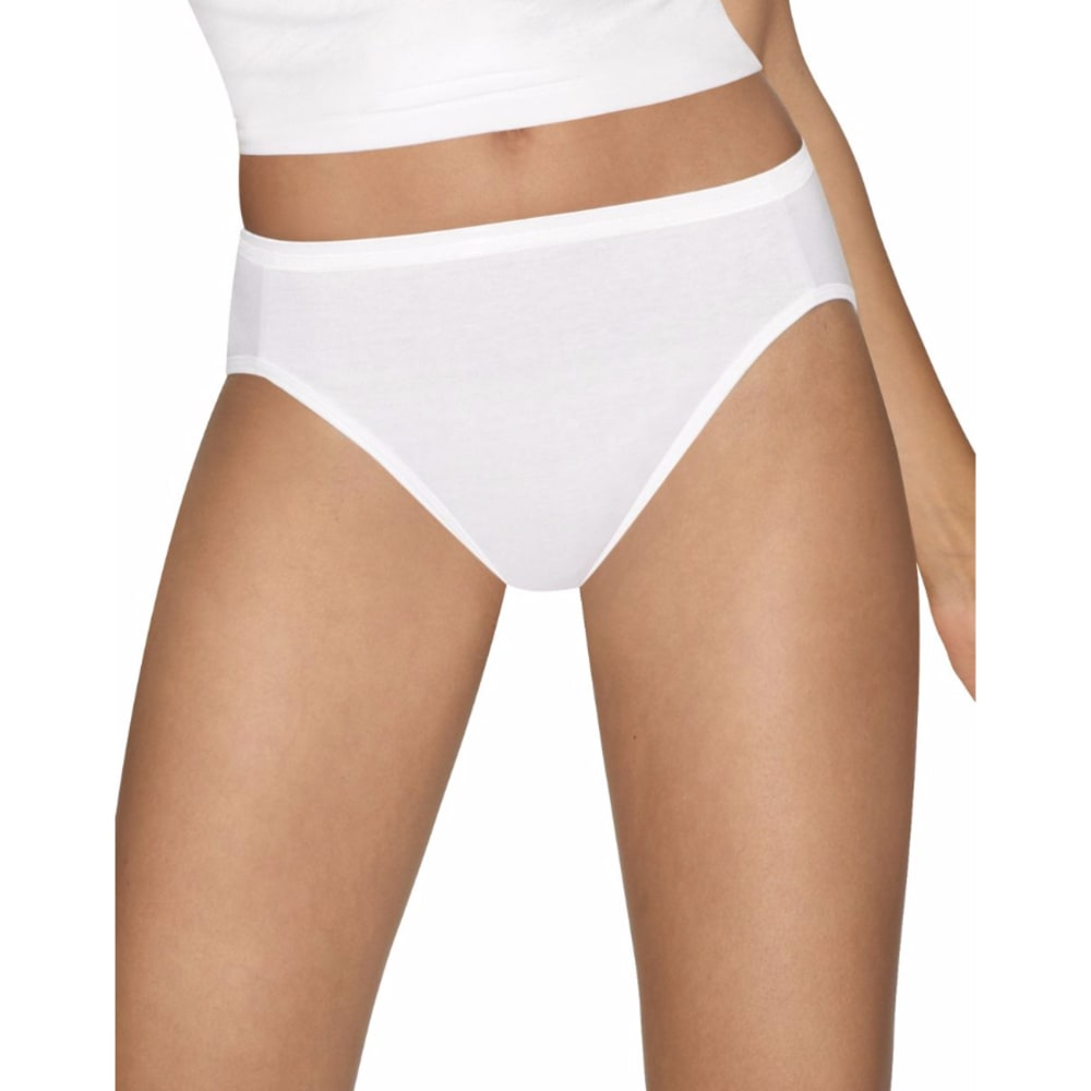 HANES Women's Ultimate Hi-Cut Panties, 5 Pack - WHITE