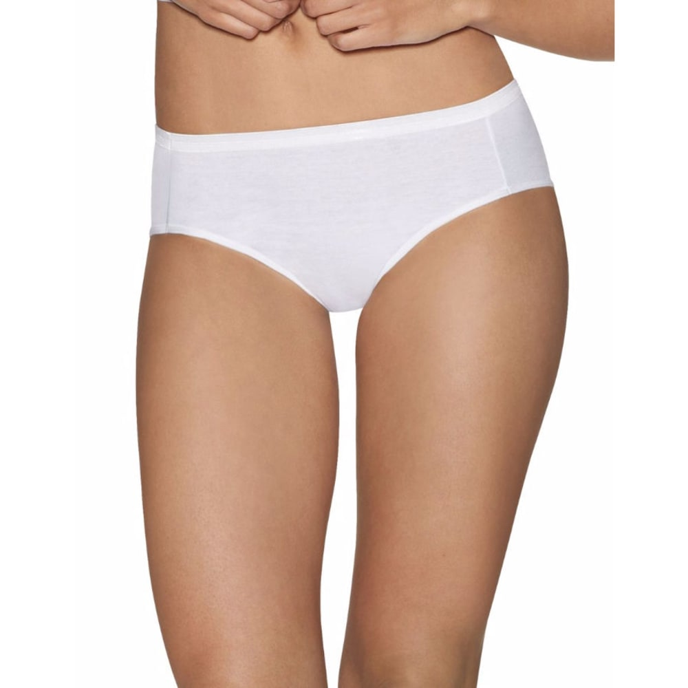HANES Women's Ultimate Comfort Cotton Hipster Panties, 5-Pack - WHITE