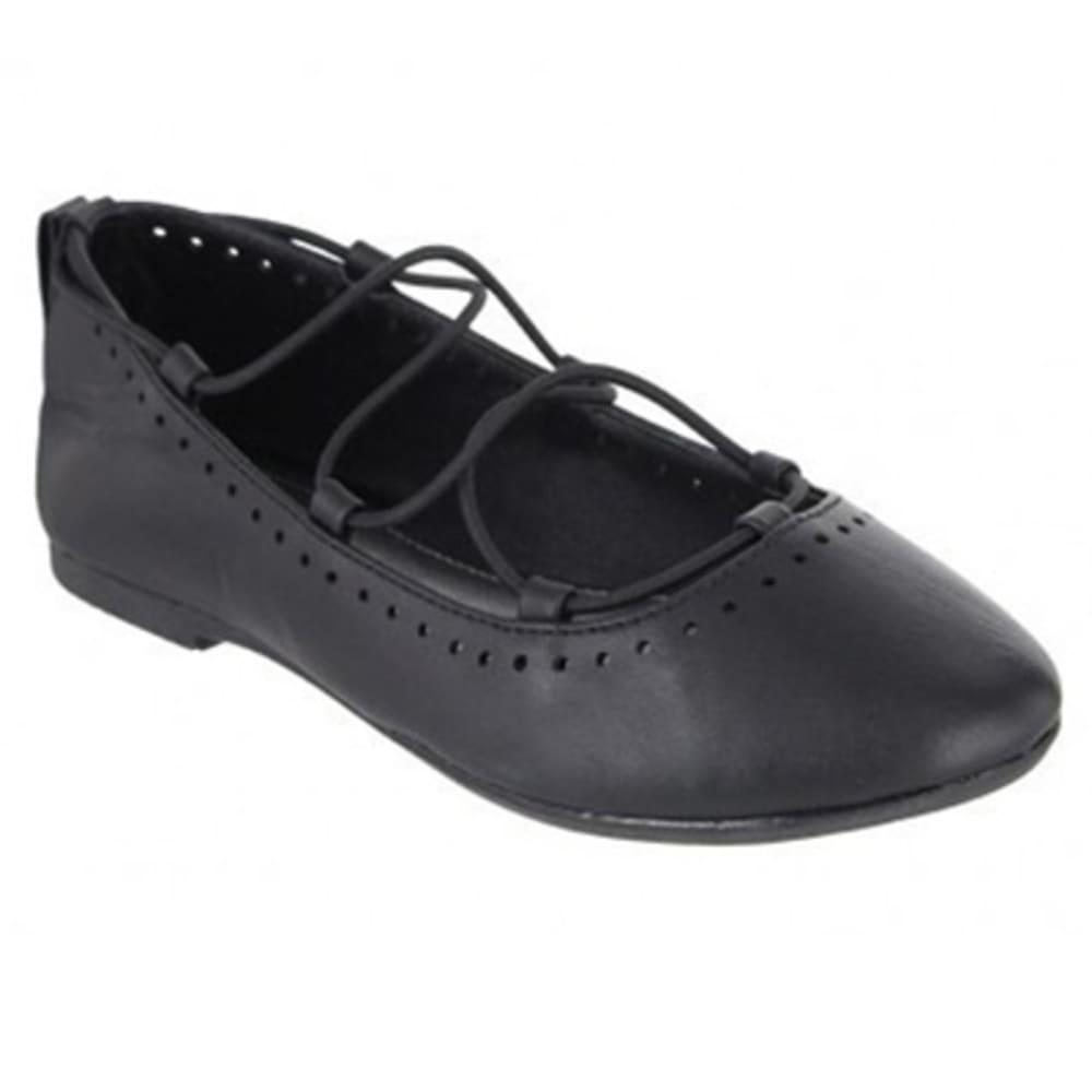 MIA Girls' Paperdoll Ghillie Ballet Flats, Black - BLACK