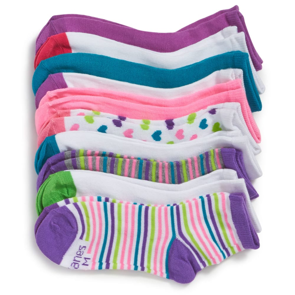 HANES Big Girls' Ankle Socks, 10 Pack - ASSORTED